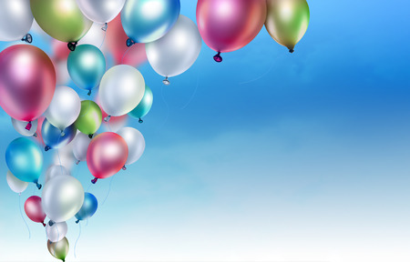 balloons: colorful balloons on the sky background Stock Photo
