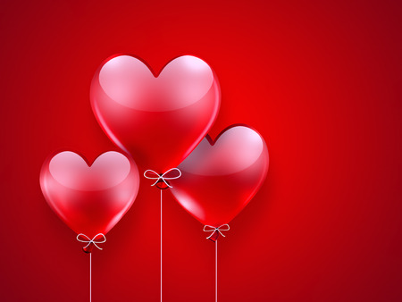 red balloons: romantic background with red balloons in shape of heart Stock Photo