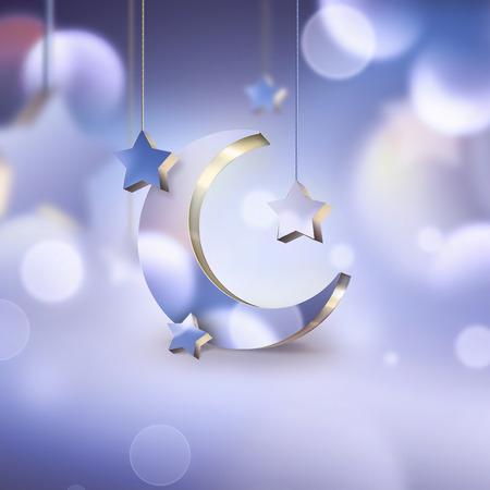 noche y luna: escena de la noche con la luna creciente y las estrellas