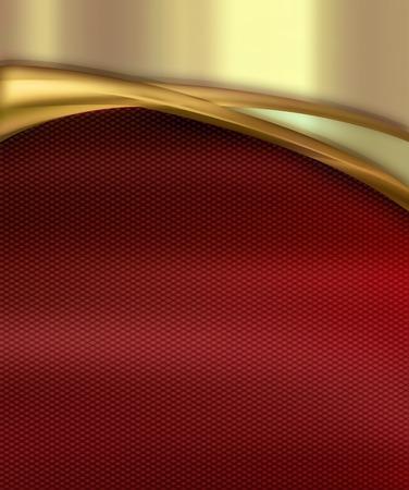 curvas: ola de oro sobre fondo rojo Foto de archivo