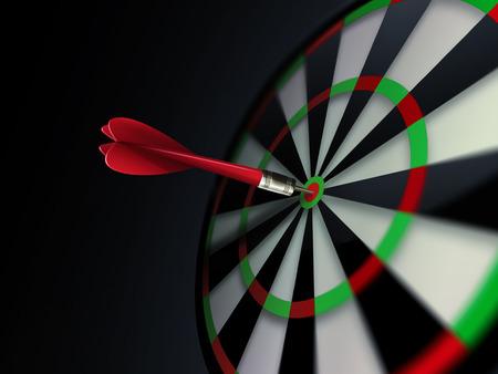 dartboard with arrow on dark background Foto de archivo