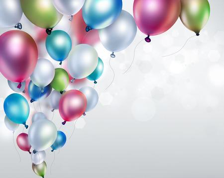 慶典: 光模糊背景彩色氣球 版權商用圖片