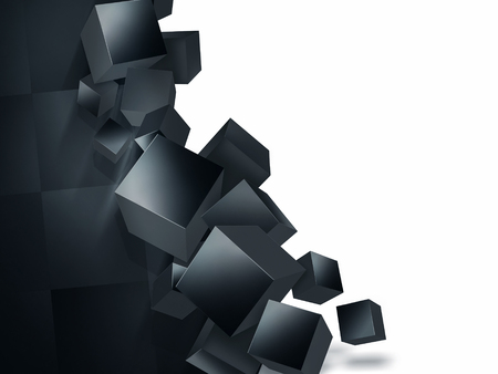 crumbling wall with black cubes