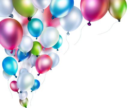 gekleurde ballonnen op een witte achtergrond