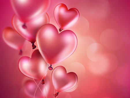 pink balloons: romantic background with pink balloons in the shape of heart