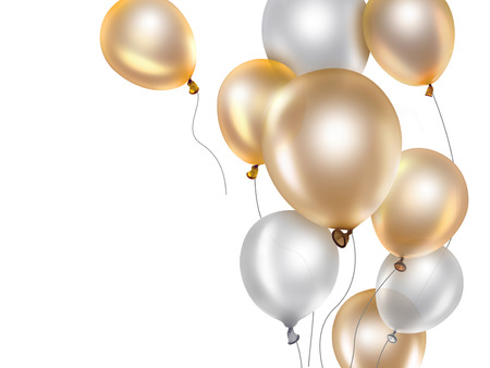 celebrate: festive background with gold and white balloons