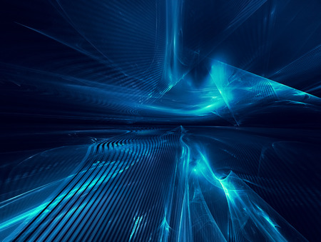 abstract blue: futuristic background with fractal horizon