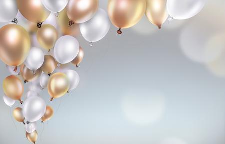 Feiern: Gold und weiße Luftballons auf verschwommen hellen Hintergrund