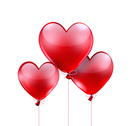 red balloons: red balloons in shape of heart