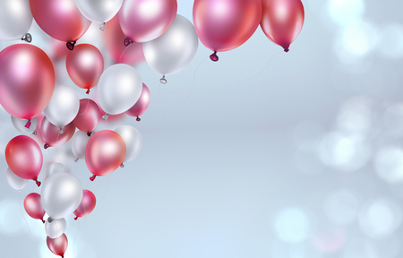 red and white balloons on light blurred background