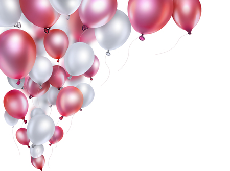 red and white balloons on white background