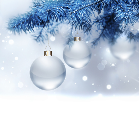 christmas fur tree: silver christmas background with balls