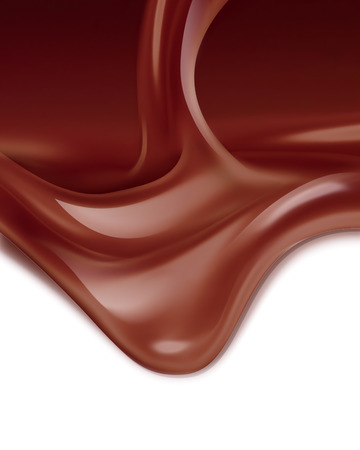 melting chocolate: flowing liquid chocolate on white background