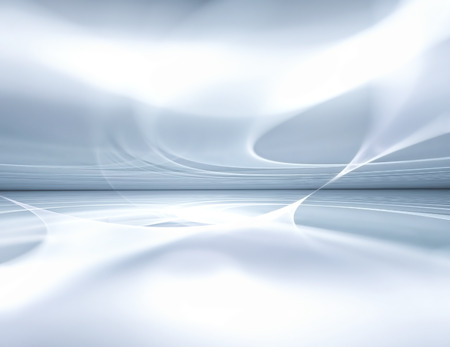horizon reflection: white futuristic background fractal horizon Stock Photo