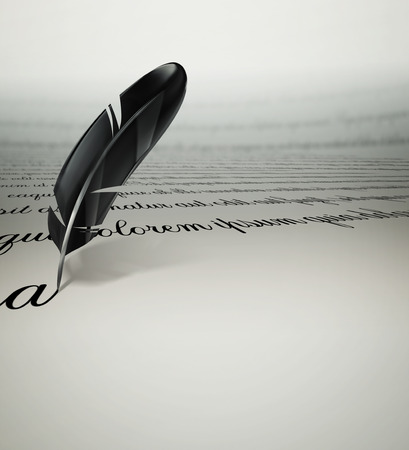 vintage document: a writing text feather on paper