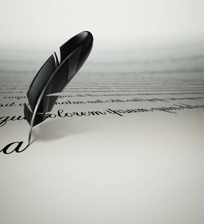 pluma: una pluma de escritura de texto en el papel Foto de archivo
