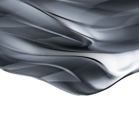 abstract black: wave of liquid metal on white background