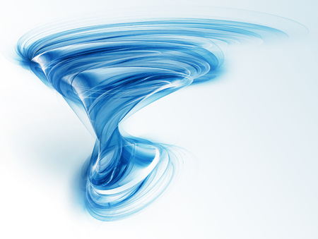 明るい背景に抽象的な青い竜巻