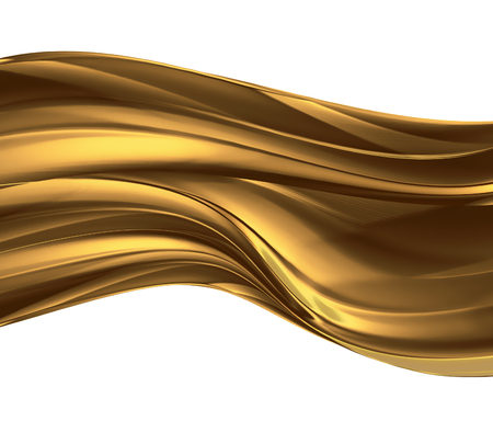 white background abstract: wave of liquid gold on white background