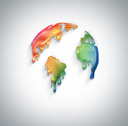 colorful paint: world with dripping colorful paint Stock Photo