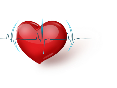 love life: Medical background with red heart and pulse