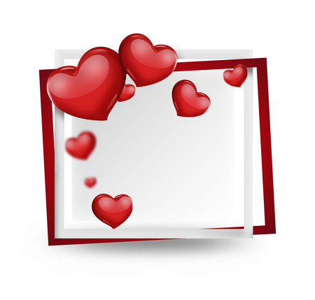 romantic card with red hearts