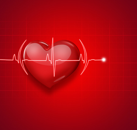 medical heart: Medical background with red heart and pulse
