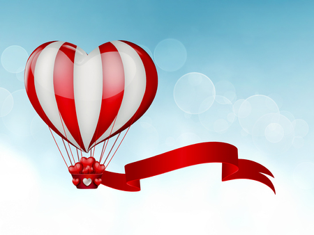 hot day: hot air balloon in the shape of a heart in the sky