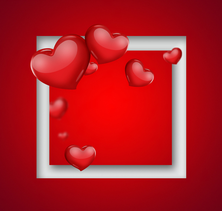 romantic: romantic card with red hearts