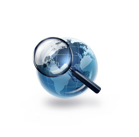 conceptual image: world with magnifying glass - Conceptual image Stock Photo