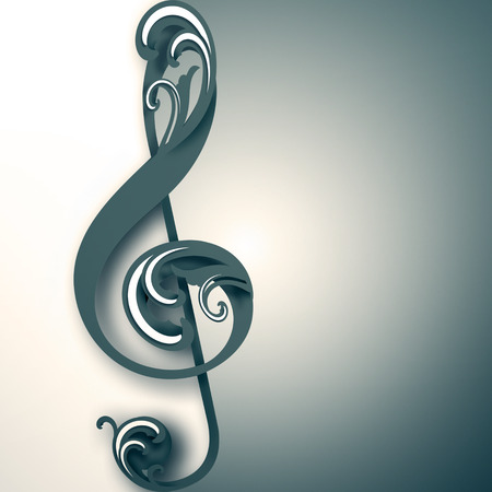 classic classical: treble clef with ornament on light background