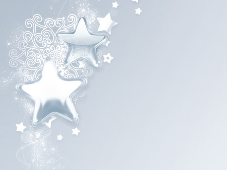 silver stars: Christmas card with silver stars and snowflakes Stock Photo