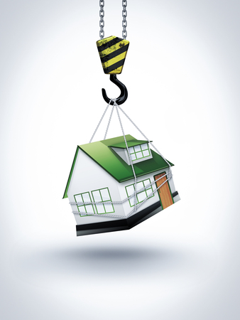 roof construction: building conceptual image with crane hook and house