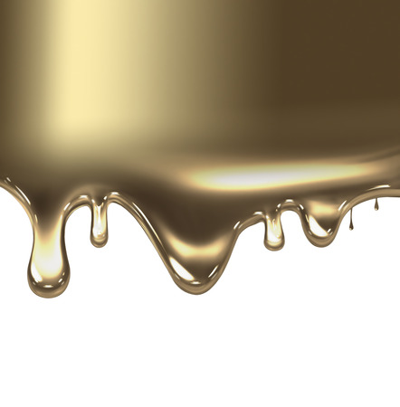 shiny metal: liquid gold on white background