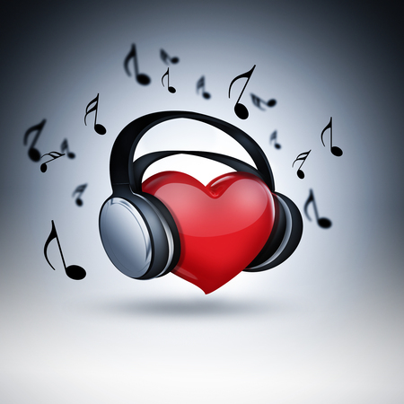 headset symbol: red heart with headphones - concept of music lover Stock Photo