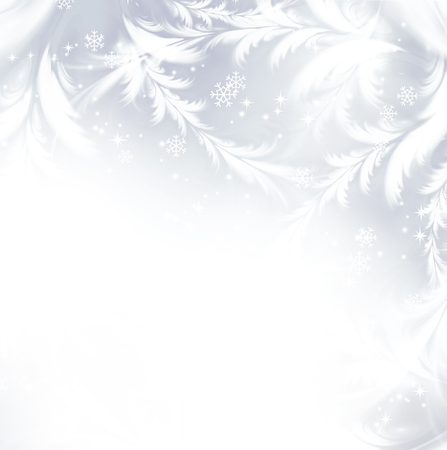 background card: festival winter silver background with white snowflakes