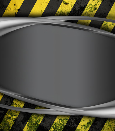 metal construction: metal  surface with yellow and black stripes as warning or danger background