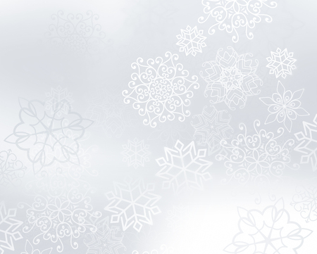 snow white: winter light silver background with snowflakes