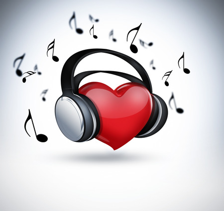 disco symbol: red heart with headphones - concept of music lover Stock Photo