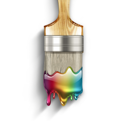 artists: Brush with dripping colorful rainbow paint Stock Photo