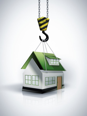 conceptual image: building conceptual image with crane hook and house