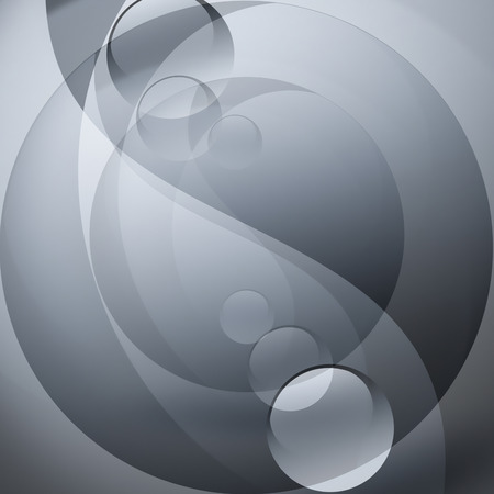 taoism: abstract gray background with yin yang forms Stock Photo
