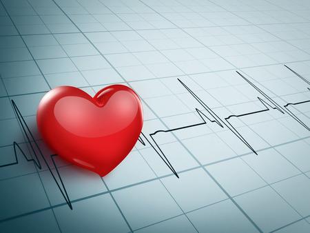 elettrocardiogramma: brillante cuore rosso su un grafico elettrocardiogramma