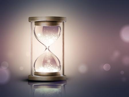 부드러운 bokeh 효과와 어두운 배경에 빛나는 빛을 가진 모래 시계 스톡 콘텐츠