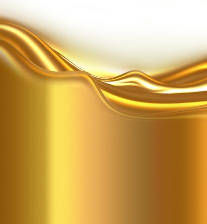 白い背景の上の抽象的な明るい黄金波