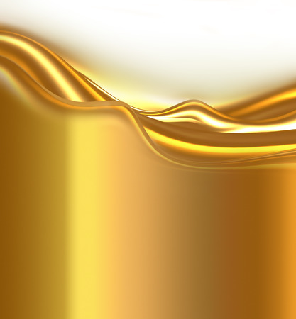 abstract bright golden waves on white background