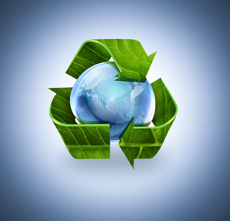 blue arrow: Recycle symbol with leaf texture and world on blue background