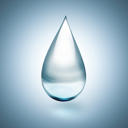 pure element: Drop of water with soft shadow on light background close up