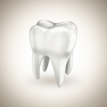 carious: healthy white tooth on a light background Stock Photo