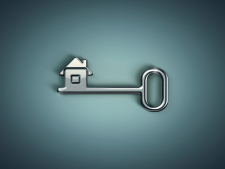 home security: metal key with abstract house on green background